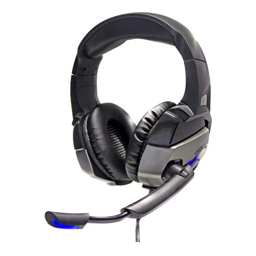 Fone De Ouvido Gamer 7.1 Usb C/ Led Azul e Microfone Preto Dex - Df-101