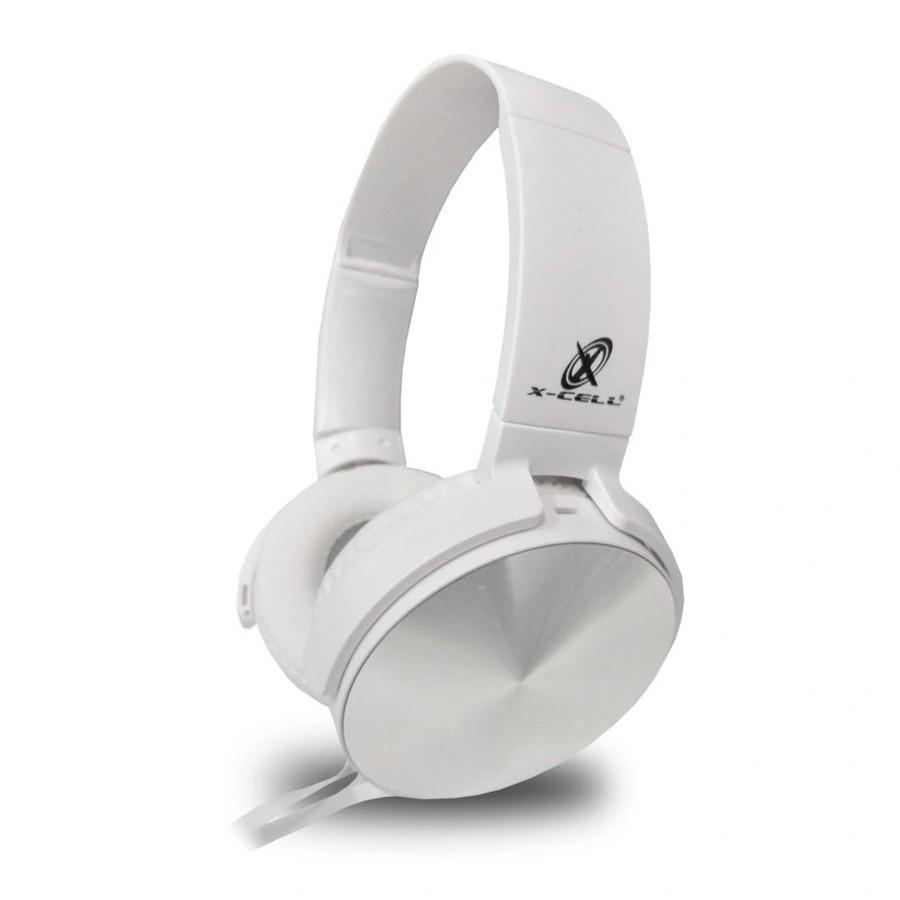 Fone de ouvido X-cell Power Bass DS TOOLS P2 Branco/Prata - XC-HS14