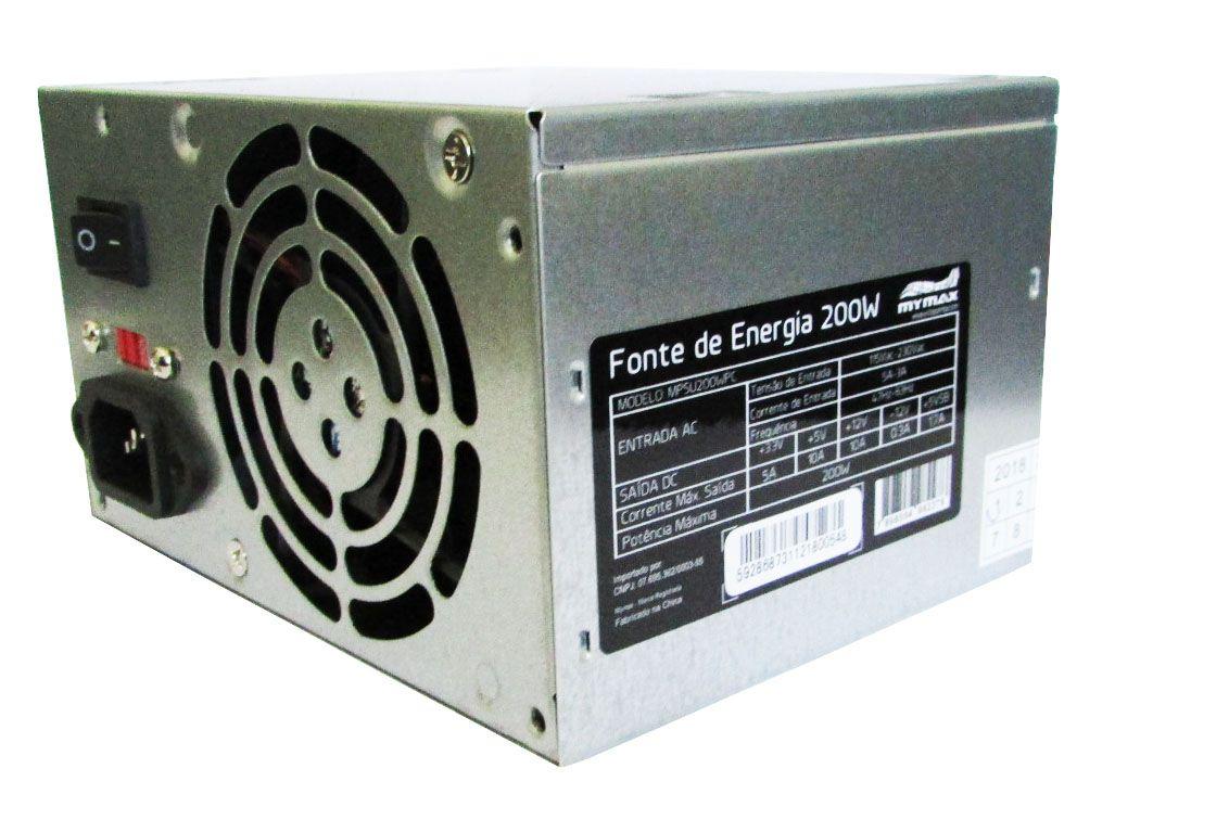 Fonte ATX 200W 20/24 Pinos 2-Sata 2 IDE MYMAX MPSU200WPC