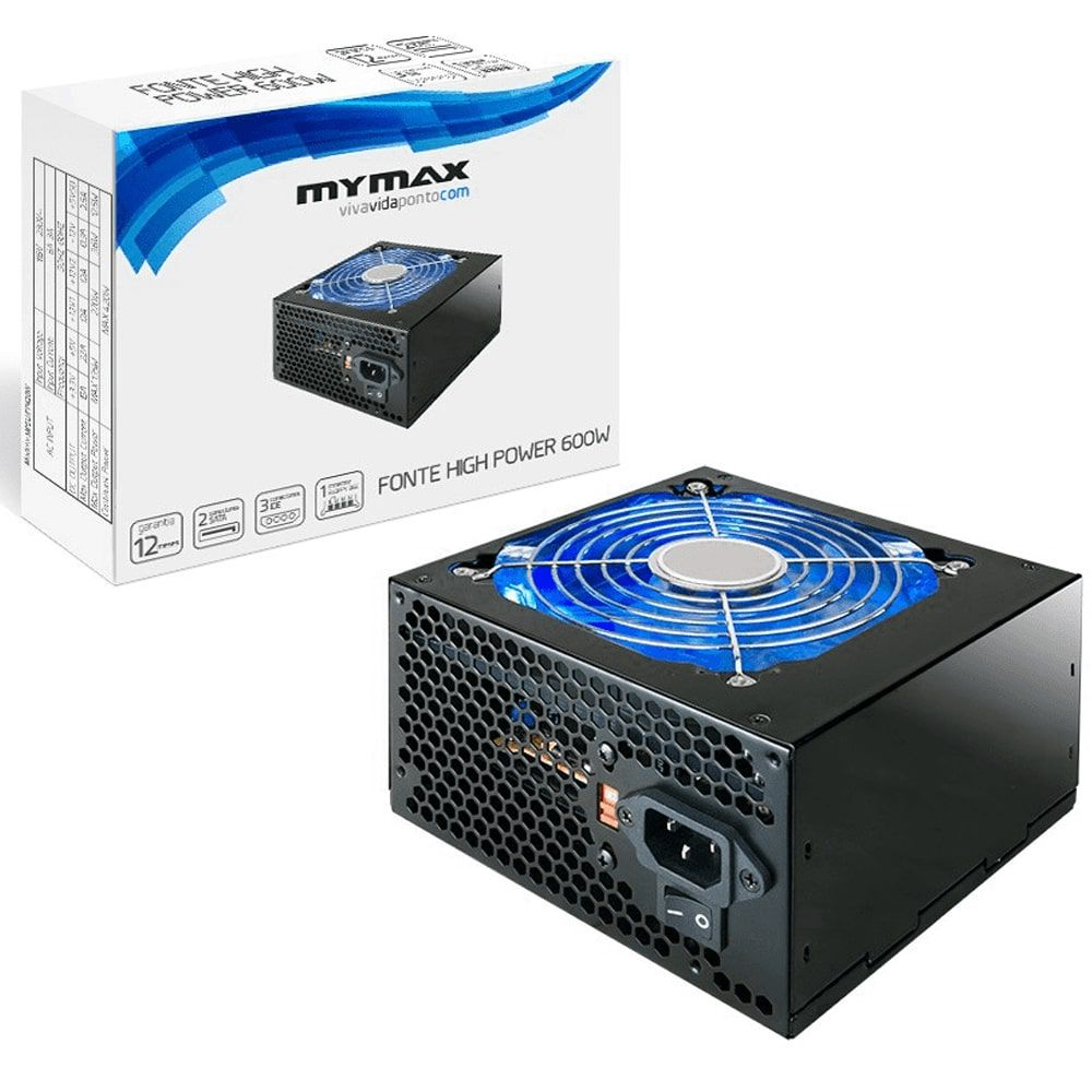 Fonte Atx 600w 24 Pinos 2 Sata High Power - MyMax