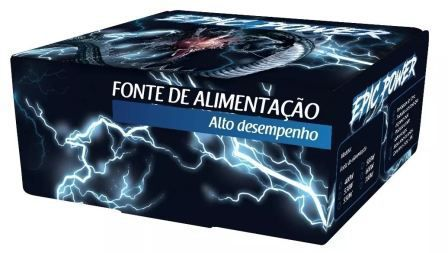 Fonte Atx Epic Power 550w Reais Cooler 120mm Azul C/cabo Box EP-C550W