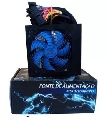 Fonte Atx Epic Power 750w Reais Cooler 120mm Azul C/cabo Box EP-C750