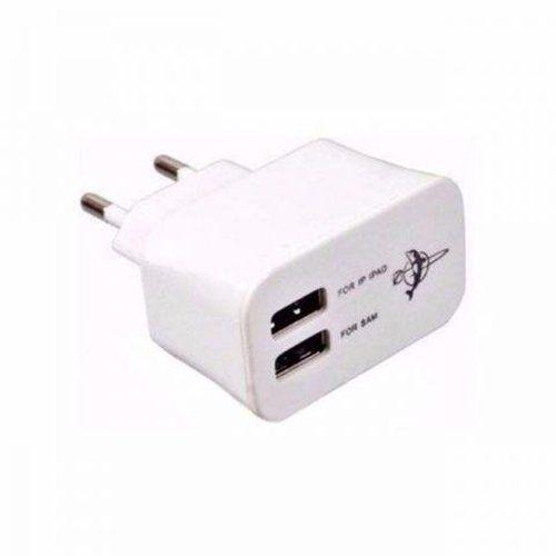 Fonte Carregador de Tomada Entrada 5V  3.1A  2 USB BY-020- Branco