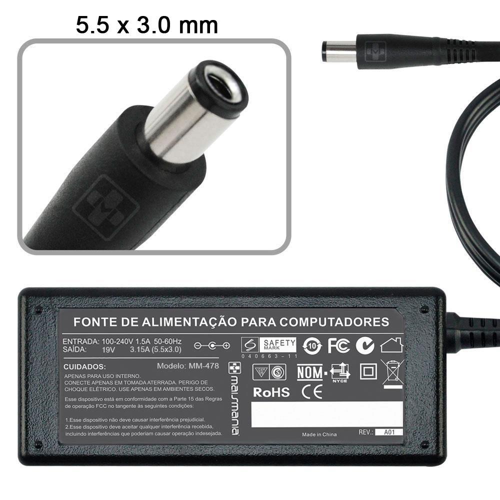 Fonte Carregador Notebook Toshiba 19V 3.15A 60W 478