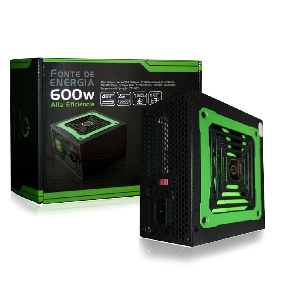 Fonte Gamer Atx 600w One Power Mp600w3i 12v V2.3 20/24 PRETO