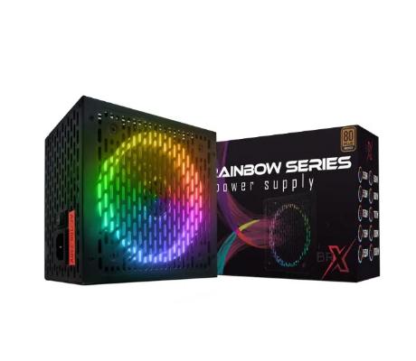 Fonte Gamer RGB BRX Rainbow 1000W 80 PLUS Bivolt Automática PFC Ativo - PowerSupply