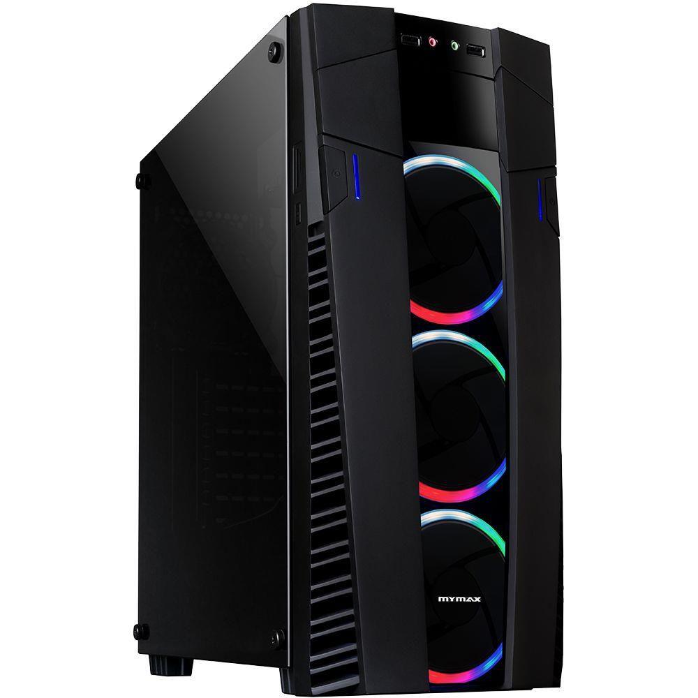 Gabinete Gamer Eclipse RGB com 3 Fans e Vidro Temperado