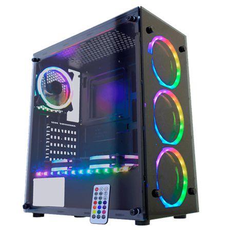 Gabinete Gamer K-mex Atlantis II Preto RGB Vidro Temperado c/ 3 Fan RGB CG-05N9