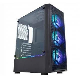 Gabinete Gamer K-Mex CG-02JT Boreas II Lateral Full Vidro S/Fonte C/ 3Fan RGB + Barra Led- CG02JTRH002CB0X