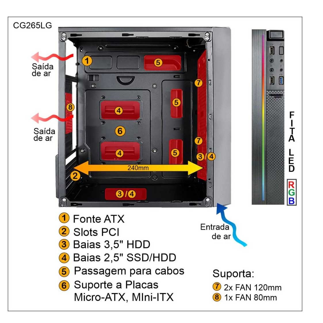 Gabinete Gamer Led RGB Sem Fonte Lateral Acrílico 1 Fan RGB Pixxo - CG265LG