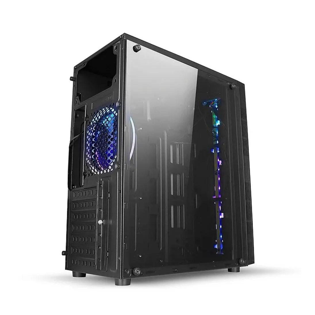 Gabinete Gamer Liketec 1Cooler Fita Led RGB e Vidro Temperado Mid Tower Preto - Rainbow