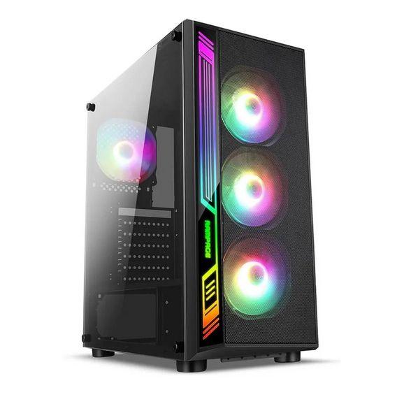 Gabinete Gamer Liketec Dex 4 Coolers Fans Rgb Lateral Vidro Preto - DEX RGB