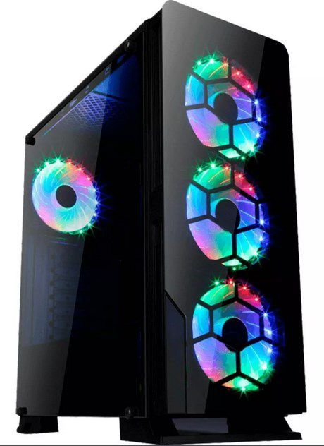 Gabinete Gamer Liketec Diamond RGB Mid Tower 3 Fan RGB Vidro Temperado Black
