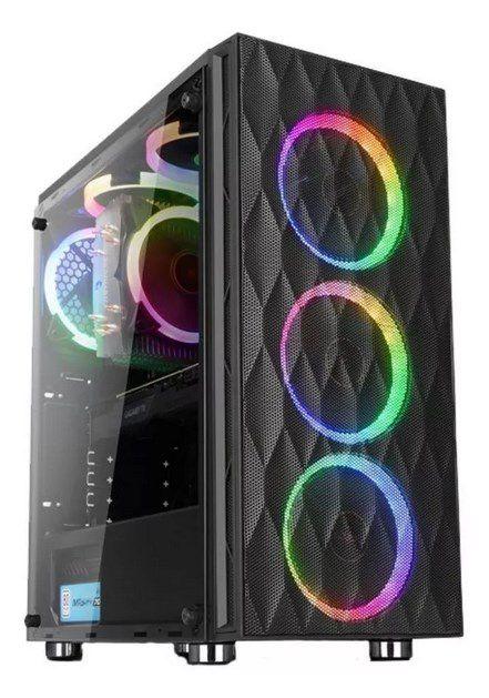 Gabinete Gamer Liketec Horus RGB Mid Tower 3 Fan RGB Vidro Temperado Black