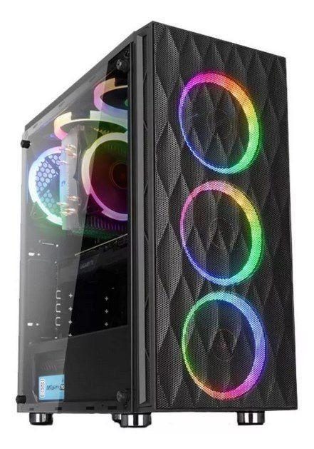 Gabinete Gamer Liketec Horus RGB Mid Tower 6 Fan RGB C/ Suporte de VGA Nexxys V2 Black