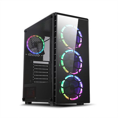 Gabinete Gamer Liketec Pryzmat RGB Mid Tower 3 Fan RGB Vidro Temperado Black