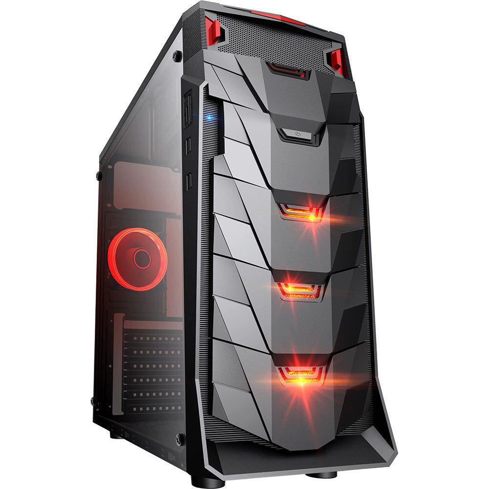 Gabinete Gamer Taurus USB 3.0 Preto LED Vermelho - MCA-TAURUS/BK