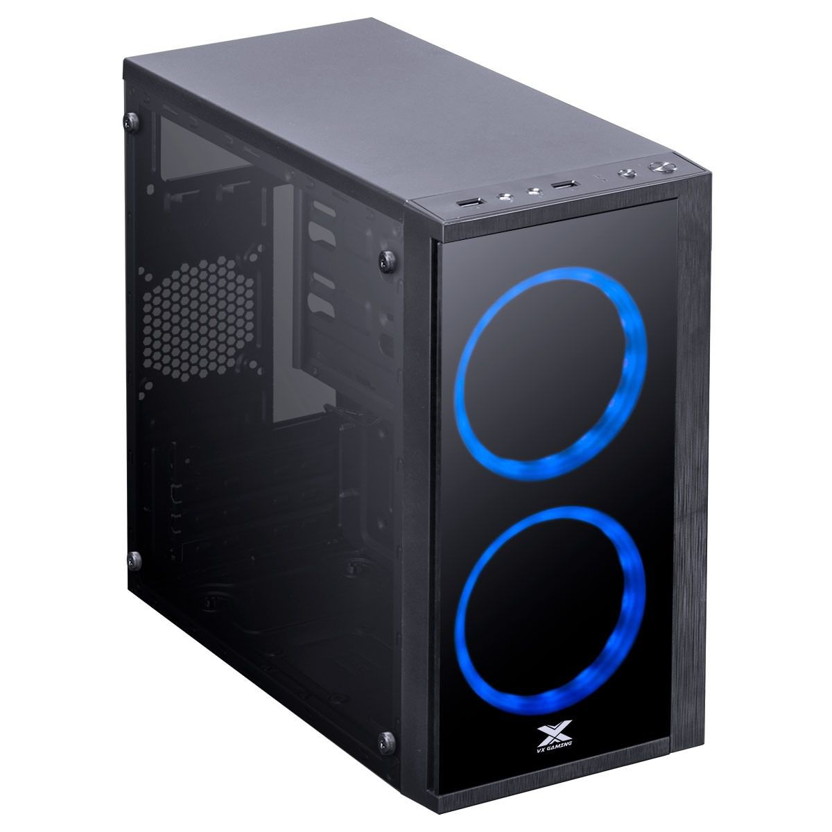 Gabinete Gamer Vx Gaming Aries Lateral Acrílica - Led Azul
