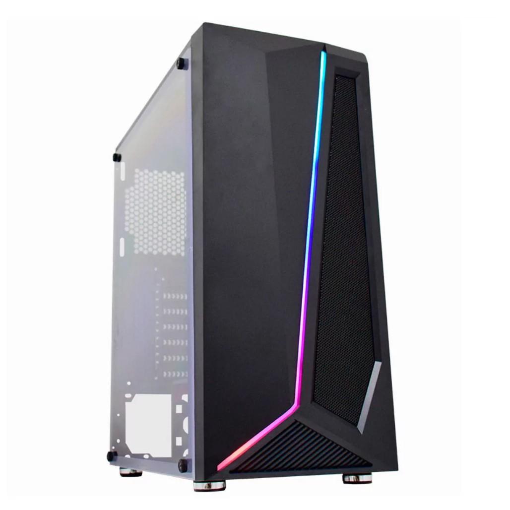 Gabinete K-Mex Gamer Hawk Painel Led RGB Rainbow S/ Fonte S/ Coolers - CG38TG