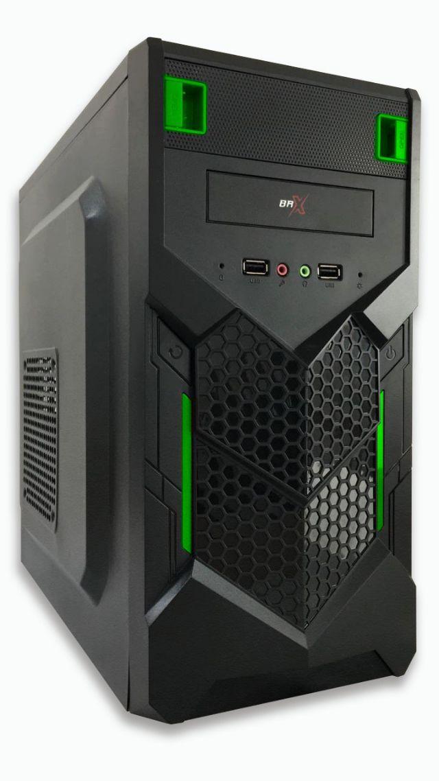 Gabinete Micro Atx Gamer Brx P015 Verde Green 2 Baias  S/ Fonte