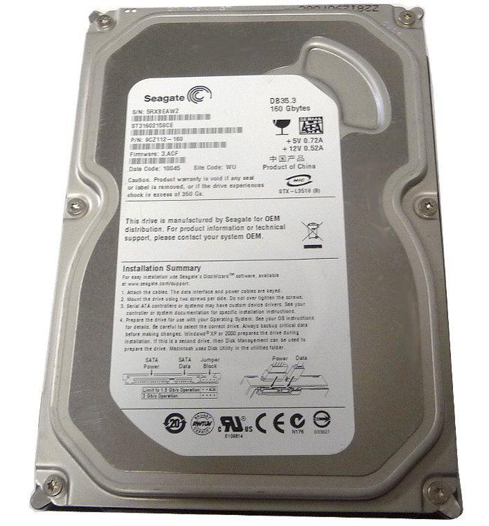 HD 160GB Sata 2 3Gb/s 7200RPM 2MB Cache Seagate ST3160215SCE