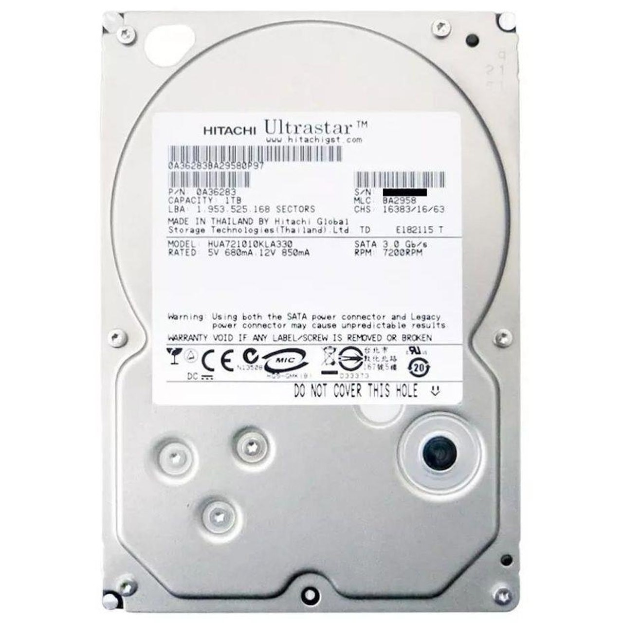 HD 1TB Hitachi HGST 7200RPM SATA 3Gb/s 32MB Cache - HITACHI 1TB