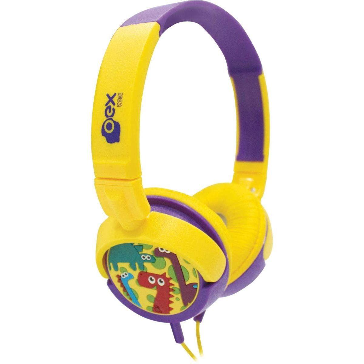 HeadPhone Infantil Oex Giratório KIDS Dino Amarelo/Roxo - HP300