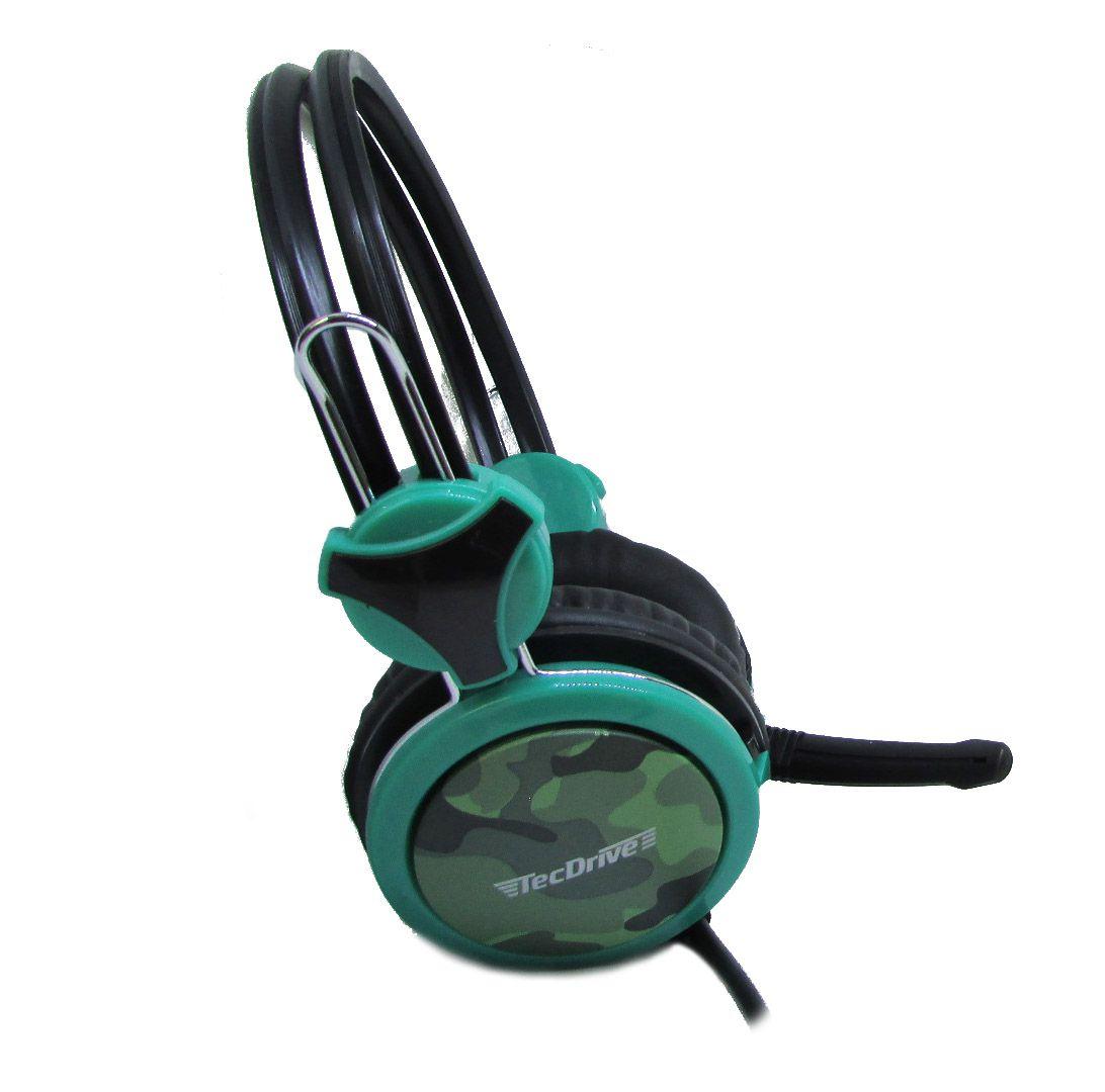 Headset Gamer P2 TecDrive Verde claro / Verde -  F-5 Camuflado
