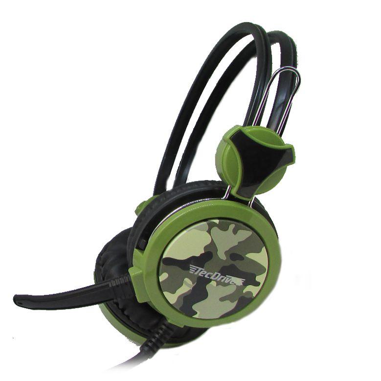 Headset Gamer P2 TecDrive Verde Militar / Camuflado  -  F-5