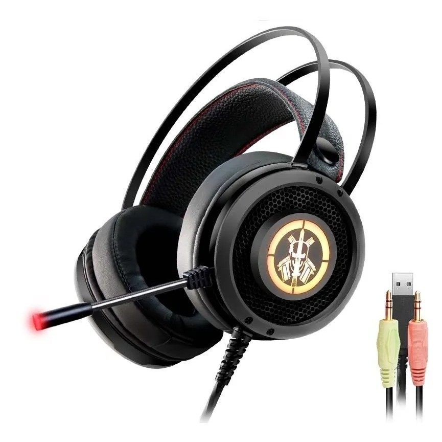 Headset Gamer K-mex Bope1 P2 C/ Mic Preto Led RGB - Ar50
