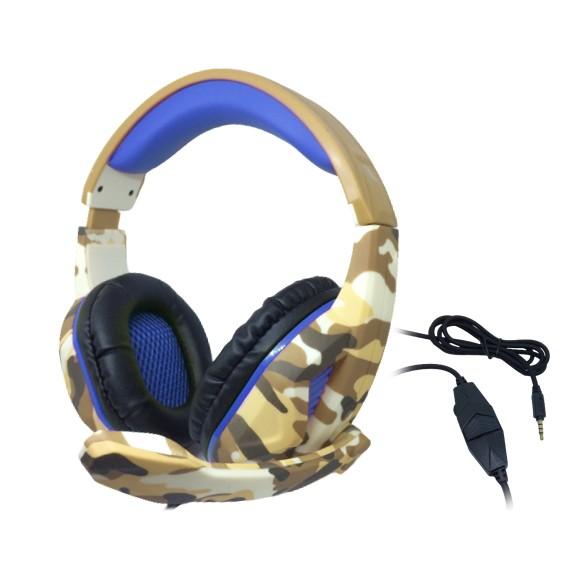 Headset Gamer TecDrive C/ Controle Vol. Camuflado Caramelo/Azul/Preto - Recruta PX1