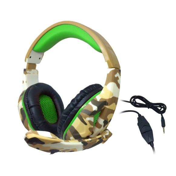 Headset Gamer TecDrive C/ Controle Vol. Camuflado Caramelo/Verde/Preto - Recruta PX1