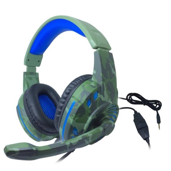 Headset Gamer TecDrive C/ Controle Vol. Camuflado Militar/Azul/Preto - Space PX2