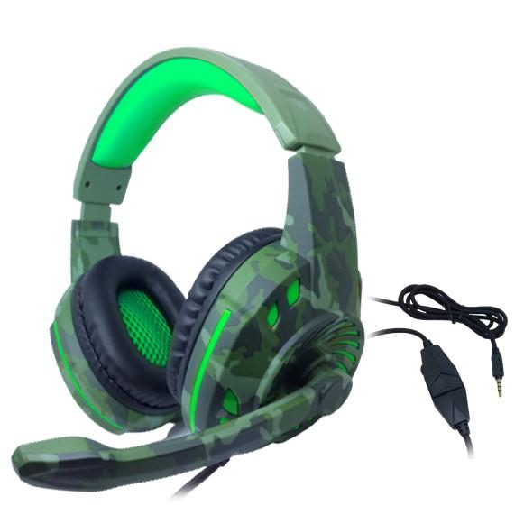 Headset Gamer TecDrive C/ Controle Vol. Camuflado Militar/Verde/Preto - Space PX2