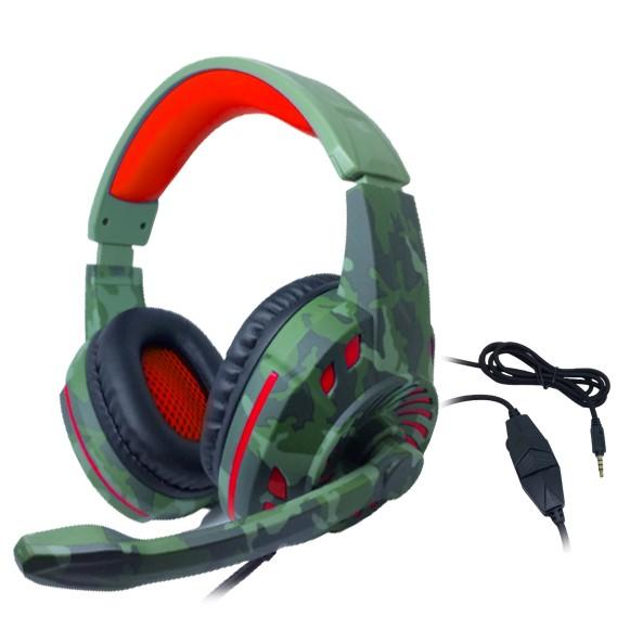 Headset Gamer TecDrive C/ Controle Vol. Camuflado Militar/Vermelho/Preto - Space PX2