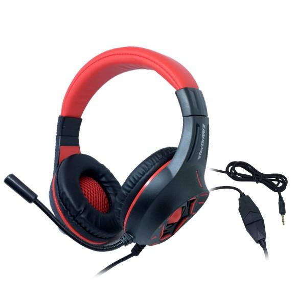 Headset Gamer TecDrive C/ Controle Vol. Vermelho/Preto - Comando PX11