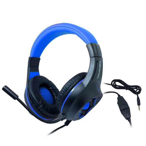 Headset Gamer TecDrive C/ Led e Controle Vol. Azul/Preto - Space War PX12