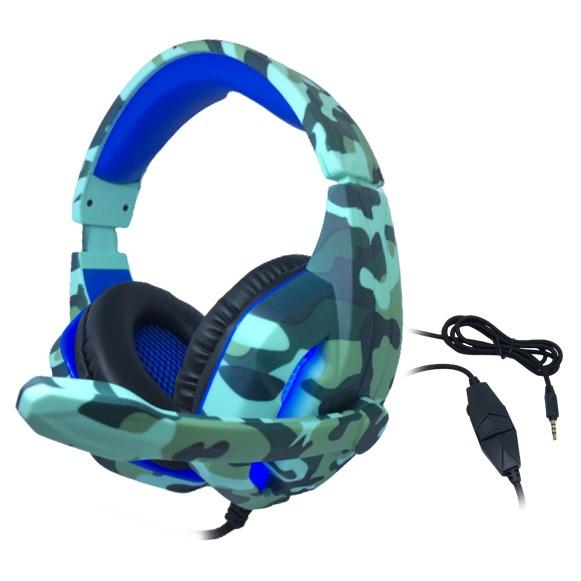 Headset Gamer TecDrive C/ Led e Controle Vol. Camuflado Agua/Azul/Preto - Naval PX6