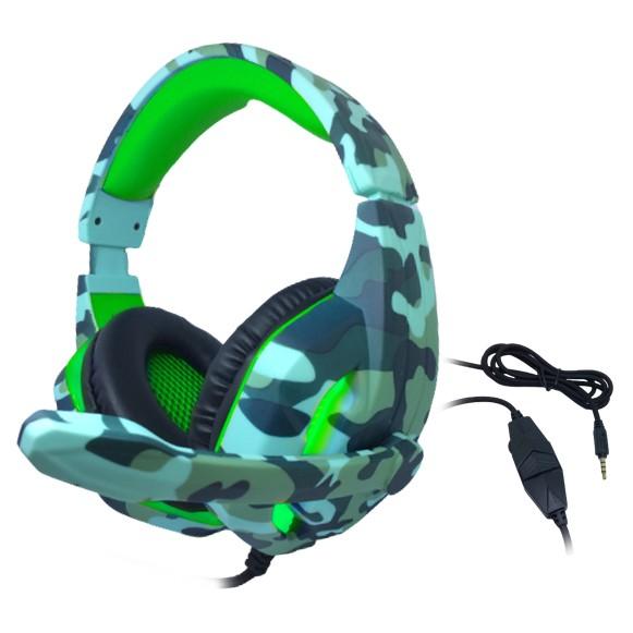 Headset Gamer TecDrive C/ Led e Controle Vol. Camuflado Agua/Verde/Preto - Naval PX6