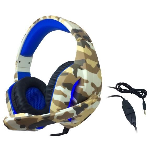 Headset Gamer TecDrive C/ Led e Controle Vol. Camuflado Caramelo/Azul/Preto - Deserto PX5