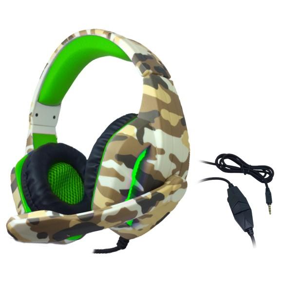 Headset Gamer TecDrive C/ Led e Controle Vol. Camuflado Caramelo/Verde/Preto - Deserto PX5