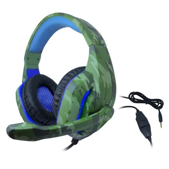 Headset Gamer TecDrive C/ Led e Controle Vol. Camuflado Militar/Azul/Preto - Selva PX4