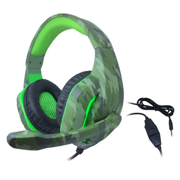 Headset Gamer TecDrive C/ Led e Controle Vol. Camuflado Militar/Verde/Preto - Selva PX4