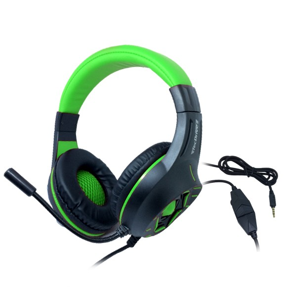 Headset Gamer TecDrive C/ Led e Controle Vol. Verde/Preto - Space War PX12