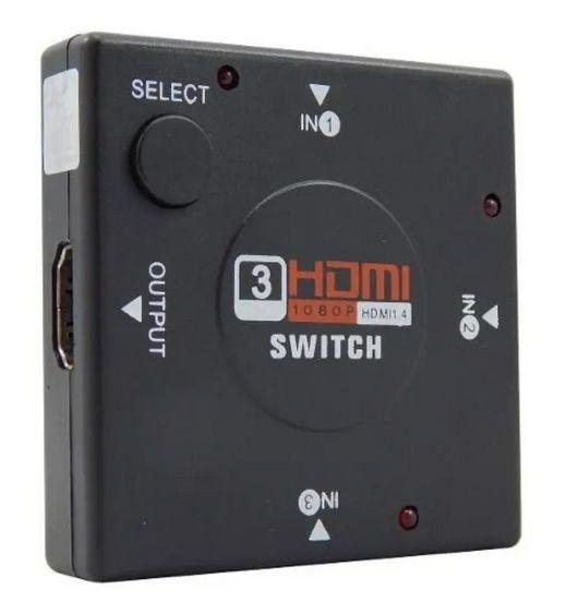 Hub Switch HDMI 3 Portas Xcell - Preto - XC-HUB-HDMI