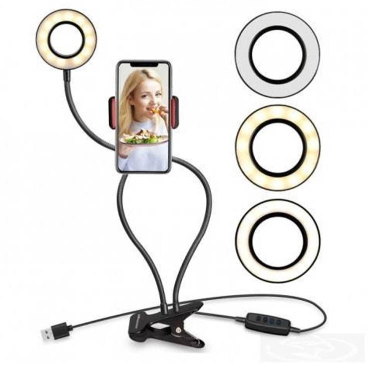 Iluminador de Led Com Suporte Mesa e Celular Ring Light Live Stream - CH-0455