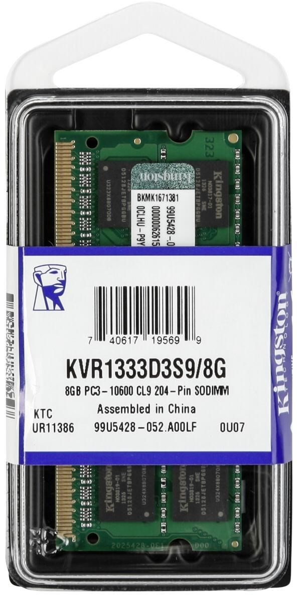 Kingston 8GB 1333Mhz DDR3 p/ Notebook - KVR1333D3S9/8G