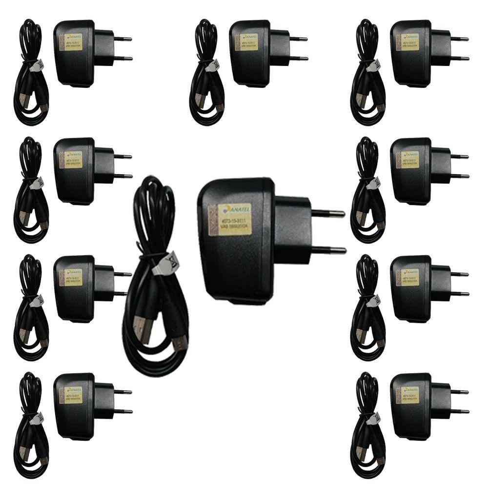 Kit 10 Carregadores Cabo + Fonte p/ celular Micro USB V8 5v 1a Pr072