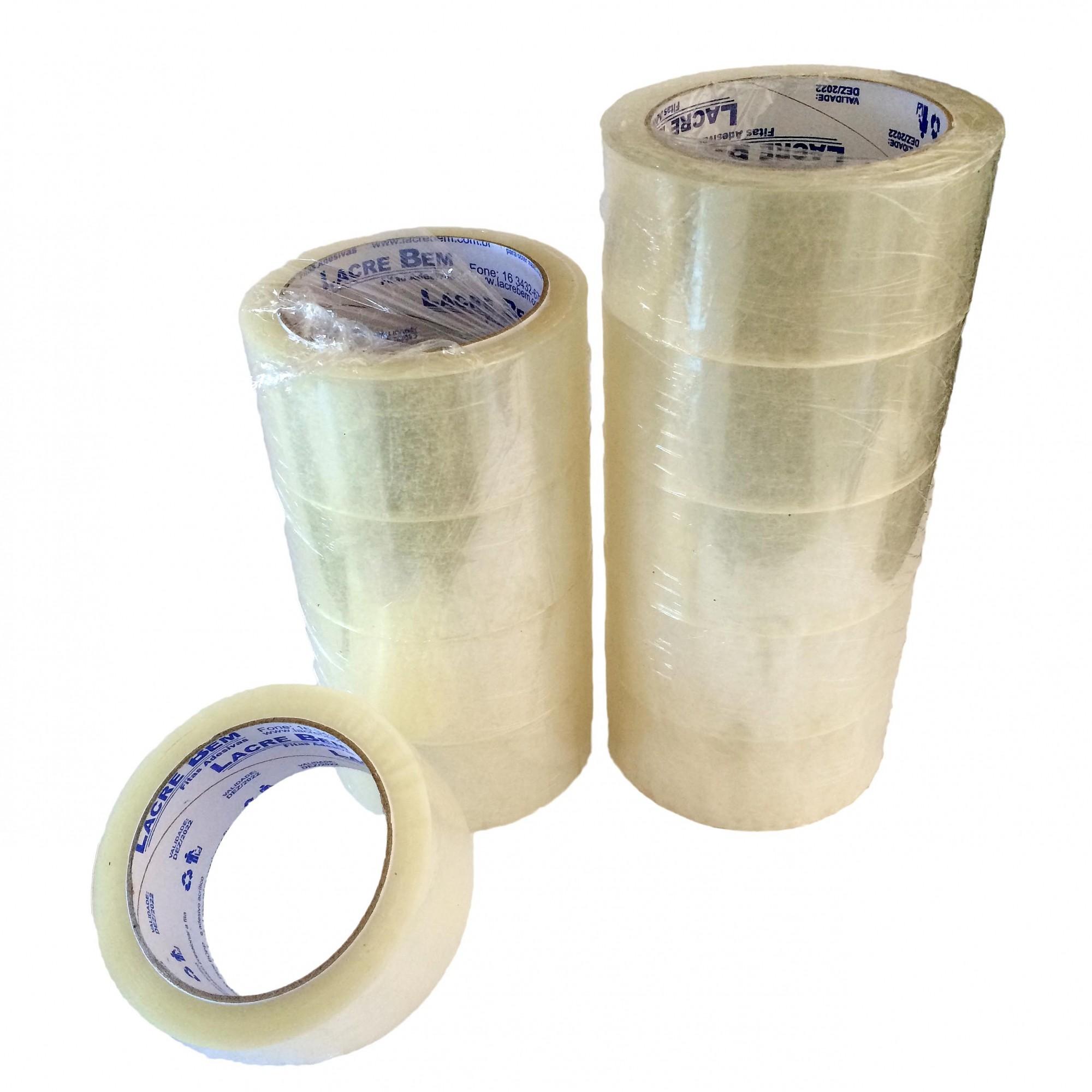 Kit 10 Rolos Fita Adesiva Transparente Lacre Bem 45mm x 100 METROS