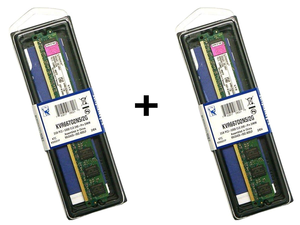 Kit 4GB C/ 2 Memórias DDr2 2GB 667MHZ Kingston